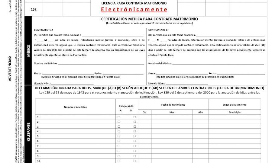 Licencia de Matrimonio Puerto Rico